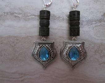 Antique silver tribal shield with aqua blue stone..gypsy earrings..bohemian earrings..carved wood tubes..unique earrings