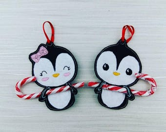 Penguin Candy Cane Christmas Tree Decoration - Stocking Filler - Stuffer - Family Gift - Tree Ornament - Penguin Ornament - Party Favors