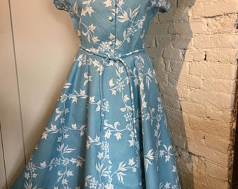Original 1950s Ivy Print Summer Dress by Jonelle