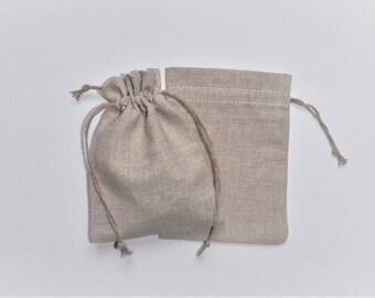 """25 Natural Linen Gift Bags * Linen Drawstring Pouches * Goodie Bags * Bachelorette Parties * 4.7"""" x 6"""" (12cm x 15cm)"""