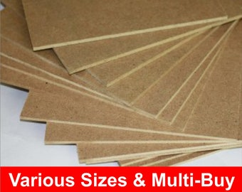 MDF Plain Blank Boards Sheets, 3mm Thick, Safe for Pyrography and laser cutting
