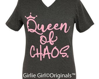 Girlie Girl Originals Queen of Chaos V-Neck Dark Heather Grey Short Sleeve T-Shirt