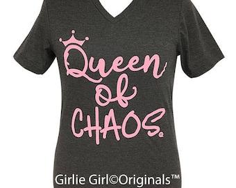 Girlie Girl Originals Queen of Chaos V-Neck Dark Heather Grey Short Sleeve T-Shirt