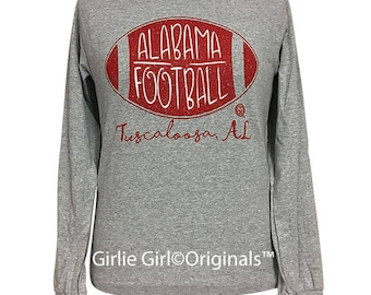 Girlie Girl Originals Alabama Football Long Sleeve Sports Grey T-Shirt