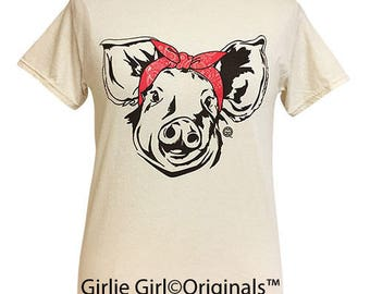 Girlie Girl Originals Paisley Bandana Pig Natural Short Sleeve T-Shirt