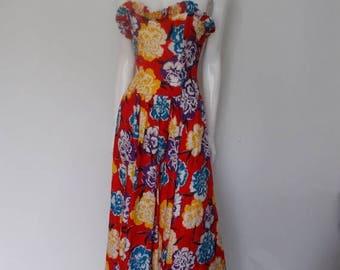 summer sale Vintage Caroline Charles of London maxi dress 1980's Dress floral strapless boned bodice dress Size Small