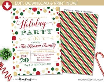 Holiday Party Invitation, Holiday Party Invite, Holiday Party Printable, DIY Edit Templett Printable