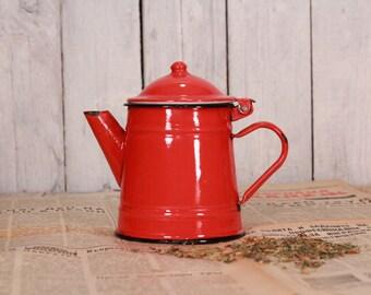 Vintage teapot, Red teapot, Vintage enamel teapot, Enamel tea pot, Enamel coffee pot, Vintage enamelware, Vintage pitcher, Country decor