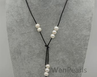 42 inches Long white Freshwater Pearl and Leather Lariat Necklace,Black Leather Pearl necklace, pearl gift, Le4-119