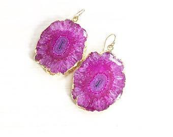 Hot Pink Solar Quartz Earrings // Quartz Earrings // Gold Earrings // Boho Earrings // Solar Quartz Earrings // Summer Earrings
