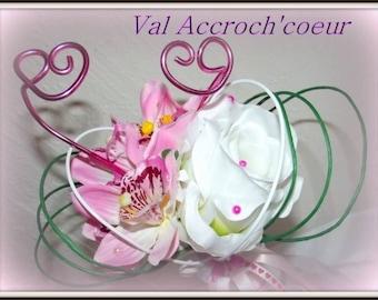 Pink wedding bouquet ring powder