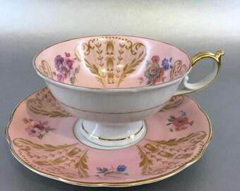 Royal Bayreuth US Zone Pink Bone China Tea Cup and Saucer Germany