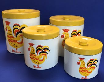 Set of Four Vintage Melamine Canister Set Rooster Mid Century Modern Damage