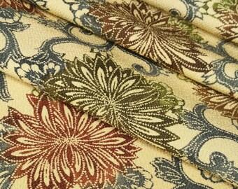 Chirimen crepe silk Kimono fabric - earth toned chrysanthemum and arabesque - by the yard