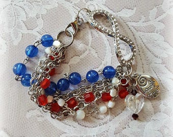 Red, White and Blue Rosary Beads, Infinity Rhinestone Connector, Silver Chains, Assemblage Bracelet, Repurposed and Upcycled Jewelry