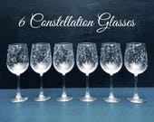 Starry Wine Glasses - Set of 6 Handpainted Star Constellation Wine Glasses - Custom Order Your Own Set