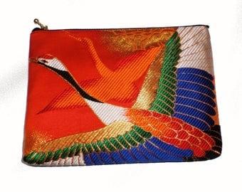 Crane pouch made of a Kimono obi