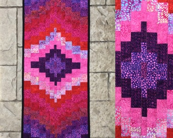 "Table runner quilted batik bargello table runner table topper dresser scarf runner 16.5"" x 32"" pink and purple cotton batiks"