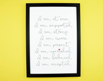 Yoga Affirmations | Inspirational Positive Typography Print | A5/A4 | Home Decor | Wall Print | Gift Inhale, Breathe, Love, Balance, Care