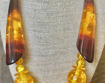 Yellow Plastic Beaded Statement Necklace