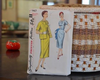 """Simplicity 1467  Size 22-1/2 ; Misses' Women's One-Piece Dress and Jacket in Half-Sizes Sewing Pattern, 1956, Bust 41"""", 1950's, 17  Pieces"""