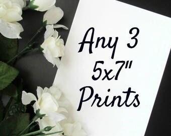 "Choose Any 3 5x7"" Prints - Minimalist Black and White Wall Decor - Gallery Wall Prints"