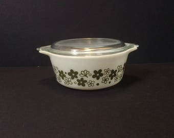 Vintage Pyrex Spring Blossom 1 1/2 Pint #472 Casserole with Lid Crazy Daisy