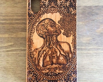 Human Anatomy Art, Med Student Gift, Heart Phone Case, Wooden IPhone Case, 7/8 Samsung Galaxy Case, Doctor Gift, Medical Assistant, Smoker