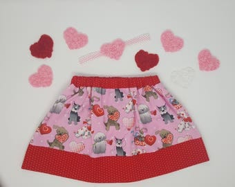 Puppy Love Skirt with Headband, Girl's Skirt, Valentine's Day Skirt, Pink and Red, Twirly Skirt, Polka Dots