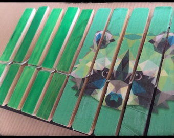 Set of 10 clothespins fantasy, standard size (raccoon REF.)