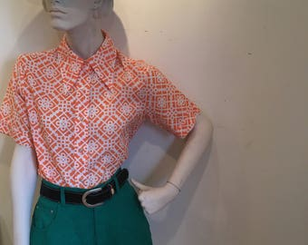 70's tangerine mod button down short sleeve with butterfly collar