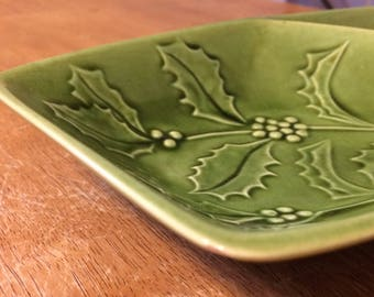 Vintage Green California Pottery #F4 Holly Chip and Dip Serving Tray With Two Parts