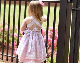 Spring dress, valentines dress, Easter dress, floral dress, baby dress, toddler dress, lace dress, vintage dress, pink dress, twirl dress