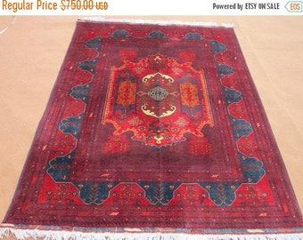 SUMMER SALE 25% OFF Size:7 ft by 5 ft Handmade Rug Vintage Afghan Oriental Turkomen Area Carpet
