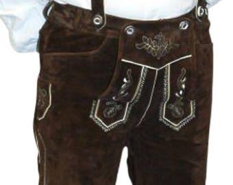2-piece Leather German Oktoberfest Lederhosen Pants Brown