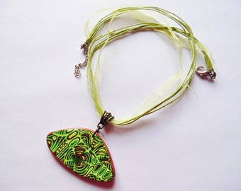 Necklace pendant polymer green and Brown mokume gane gift