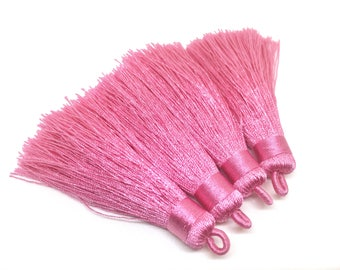 Pink Tassels, tassel earrings, Silk Tassels, 3 Inch 80mm Tassel, pink jewelry, tassel necklace, pink necklace, long pink tassel