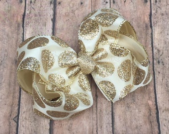 """Ivory and Gold Hair bows, 6"""" Ivory and Gold Bow, Ivory and Gold Boutique Bow, Ivory Hair Bow, Flower Girl Gold Bow, Flower Girl Hair Bow"""
