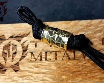Polished Brass Rock Finish Lanyard Bead