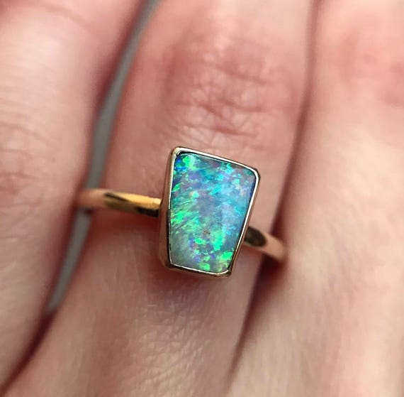14K yellow gold ring with Australian Crystal Pipe Opal SZ 7