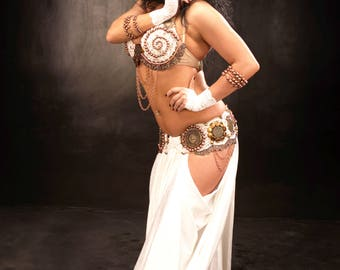 Tribal Fusion Belly Dance White Vintage Ethnic Costume whole set YOUR SIZE