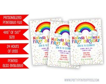Printable Rainbow Birthday Invitation - Rainbow Party Invitation - Rainbow Invitations - Rainbow Invite - Rainbow Party Invite - Girl 1st