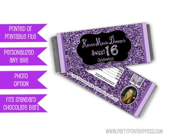 Purple Glitter Sweet 16 Candy Wrappers - Purple Sweet 16 Party Favors - Purple Sweet 16 Candy Bar Wrapper - Purple and Black - Photo Favors
