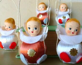 Angel Ornaments / Silk Ball Christmas Ornaments / Vintage 1950s / Mid Century Christmas Decor