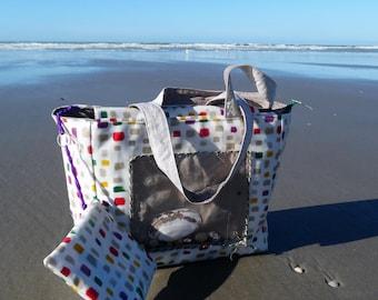 Coated fabric, Pocket shells beach bag