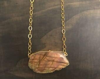 Large Labradorite Necklace // Gold Labradorite Necklace // Labradorite Necklace