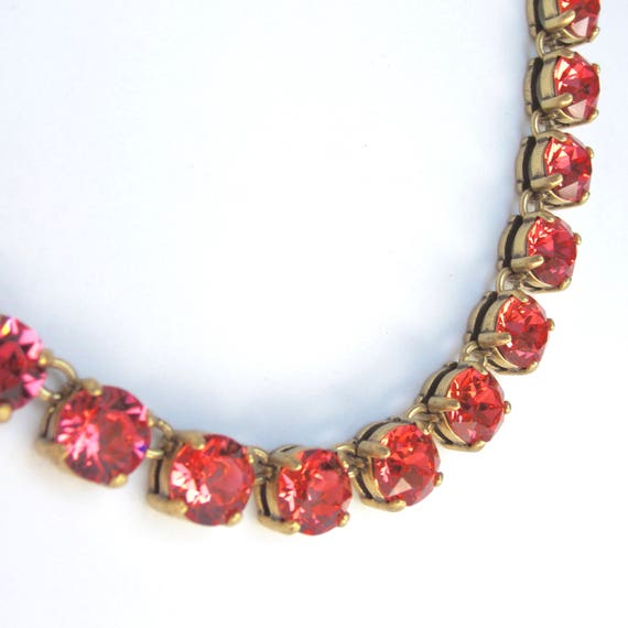 Sparkling Coral/Rosy color CRYSTAL NECKLACE with gunmetal finish ~pretty costume jewelry
