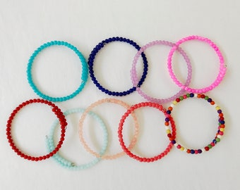 Set of THREE colorful bangle bracelets, layering bracelet, memory wire bracelet, colorful layering bracelets