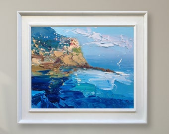 Manarola Cinque Terre Italy Painting Blue Coastal Wall Art Italy Coastal Art Italy Wall Art Canvas Italy Seascape Painting Gifts for Women