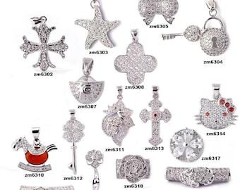 DIY Handmade Thai Silver Diamond Bowknot Flower Clover Pendant-WEN536280717652-GVN